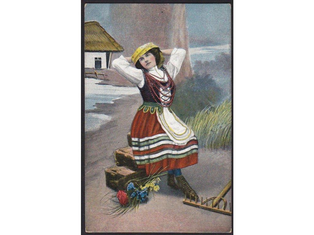 Žena v kroji na Ukrajině, cca 1918
