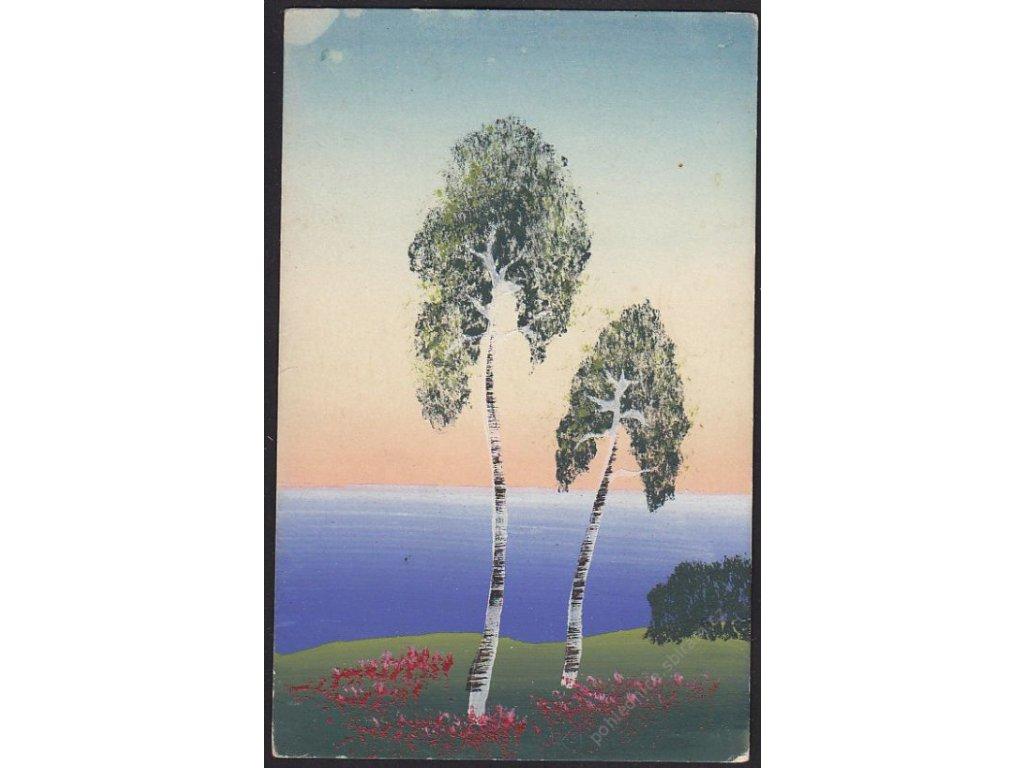 Ručně malovaná pohlednice, Břízky, cca 1920
