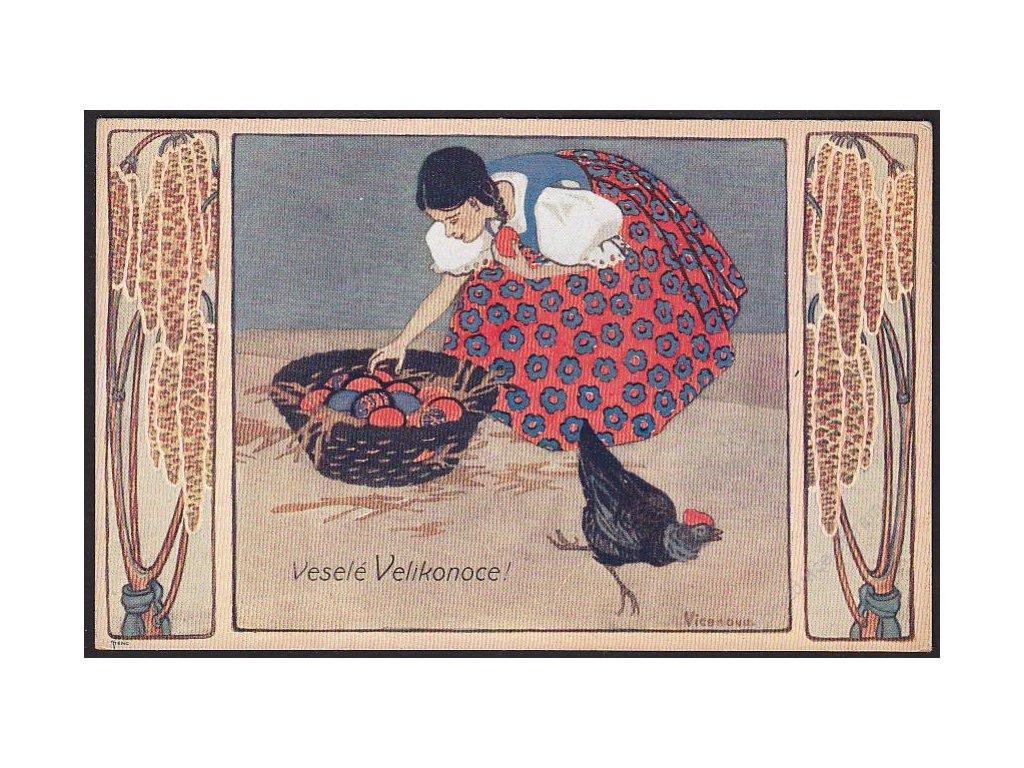 Veselé Velikonoce, Děvče s kraslicemi, cca 1920