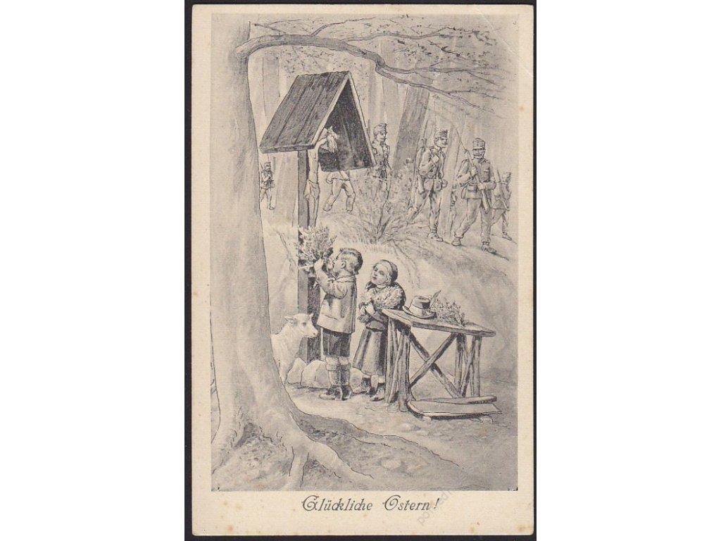 Veselé Velikonoce, Děti u kapličky, cca 1917