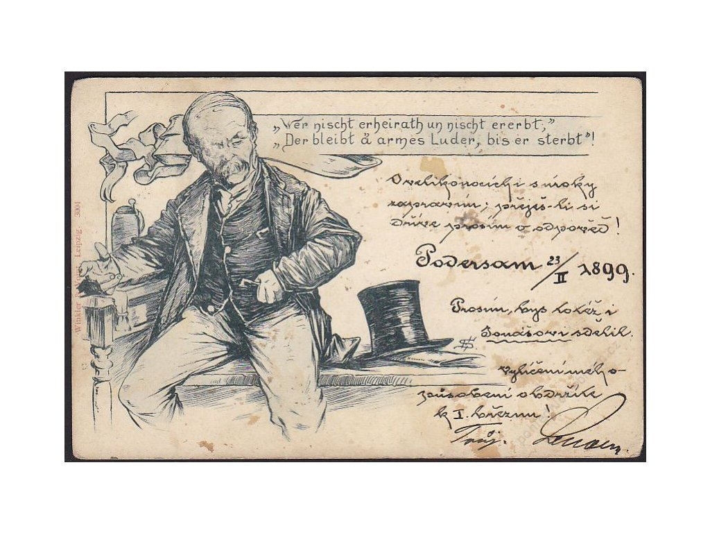 Satirická pohlednice, Muž s cylindrem, cca 1899