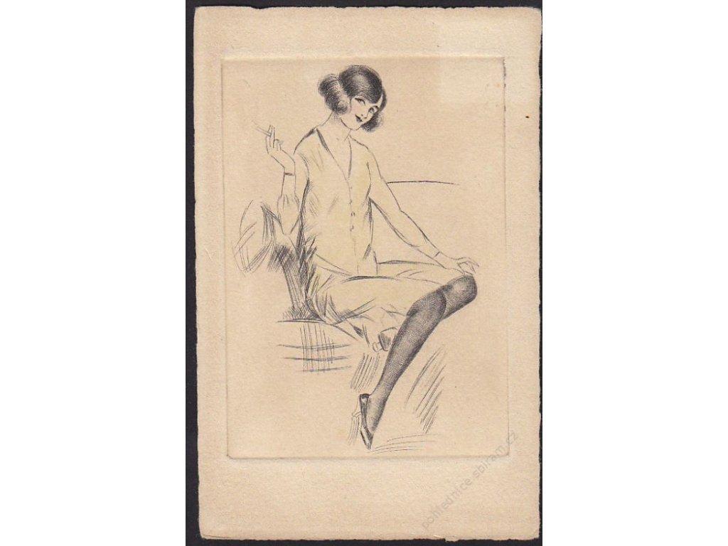 Dáma s cigaretou, cca 1915