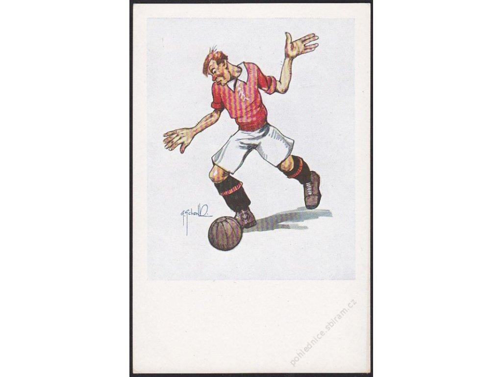 Satirická pohlednice, kopaná, cca 1930