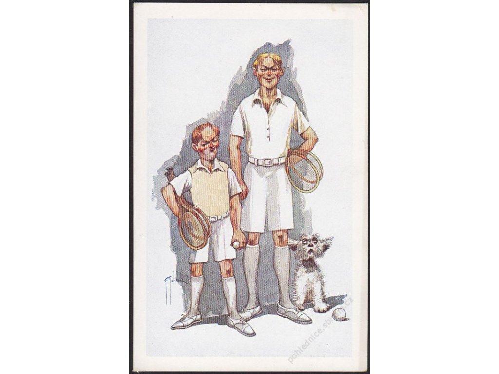 Satirická pohlednice, tenis, cca 1930