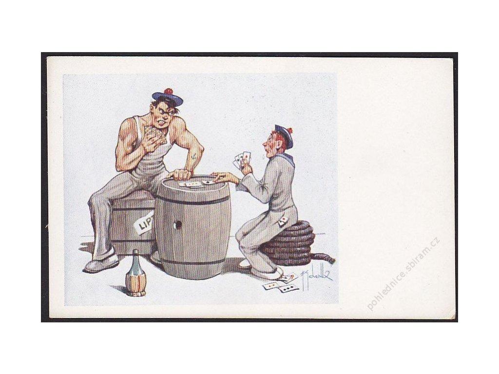 Satirická pohlednice, námořníci hrající karty, cca 1930