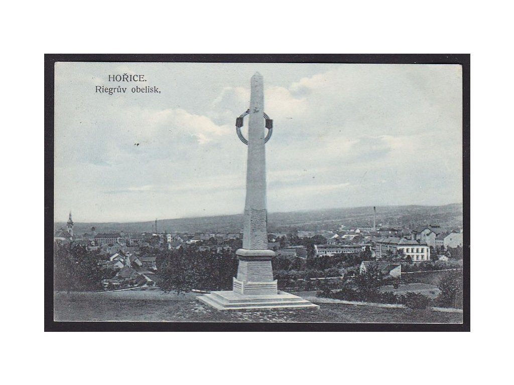22 - Jičínsko, Hořice, Riegrův obelisk, cca 1911