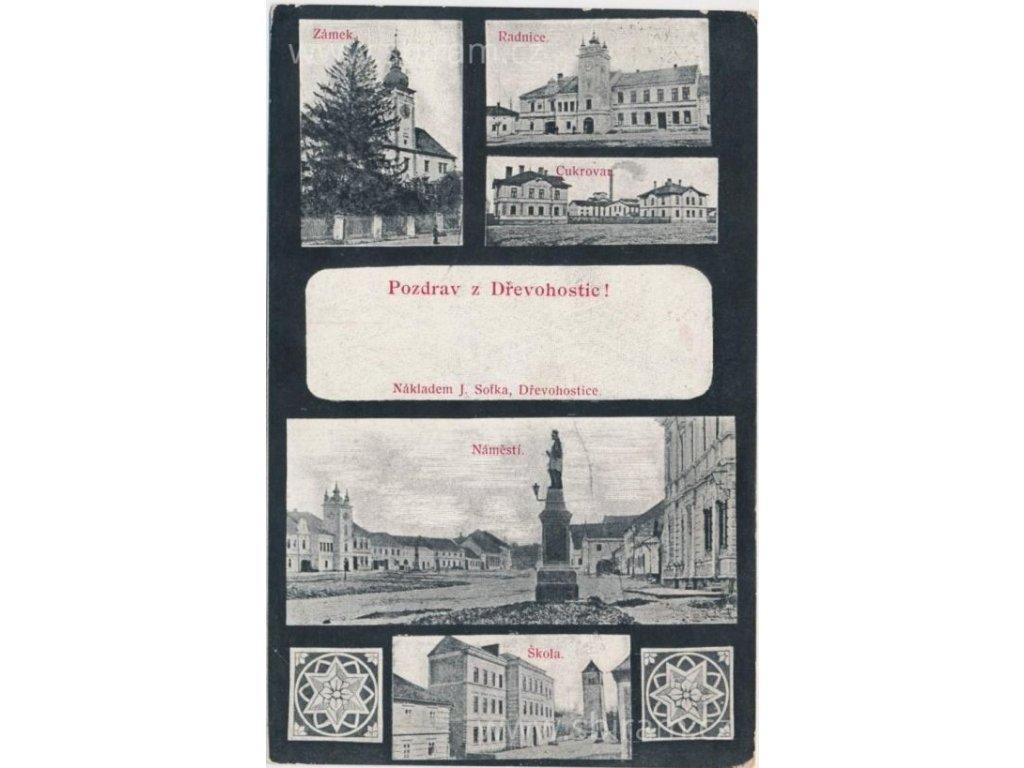 53 - Přerovsko, Dřevohostice, 5 - ti záběr dominant města, cca 1910