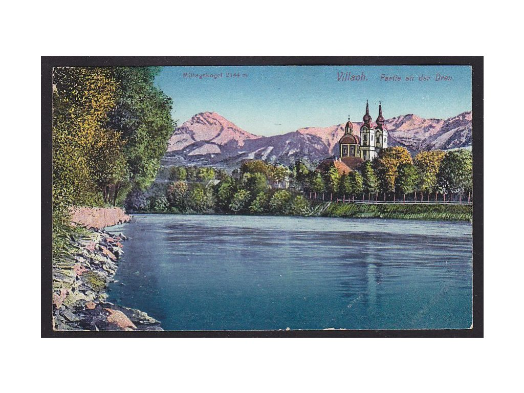 Austria, Carinthia, Villach, by river Drava and with Kope, cca 1916