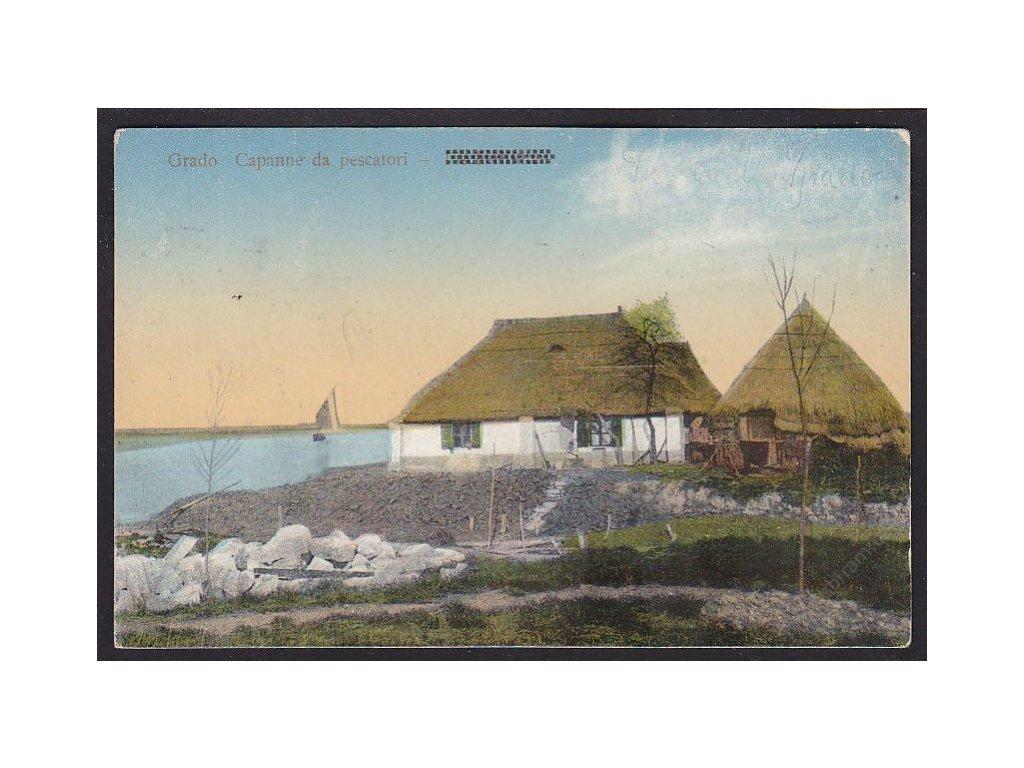 Italy, Friuli-Venezia Giulia, Grado, huts of fishermen, cca 1925