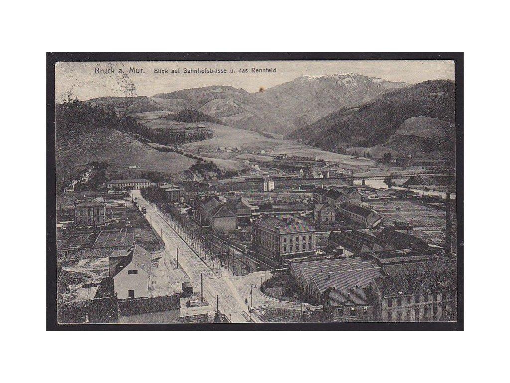 Austria, Styria, Bruck an der Mur, panorama over railway station area, cca 1916