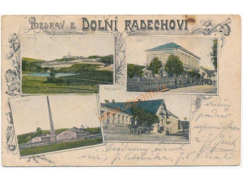 38 - Náchodsko, Dolní Radechová, 4 - záběr, Kleslův hostinec..., 1900