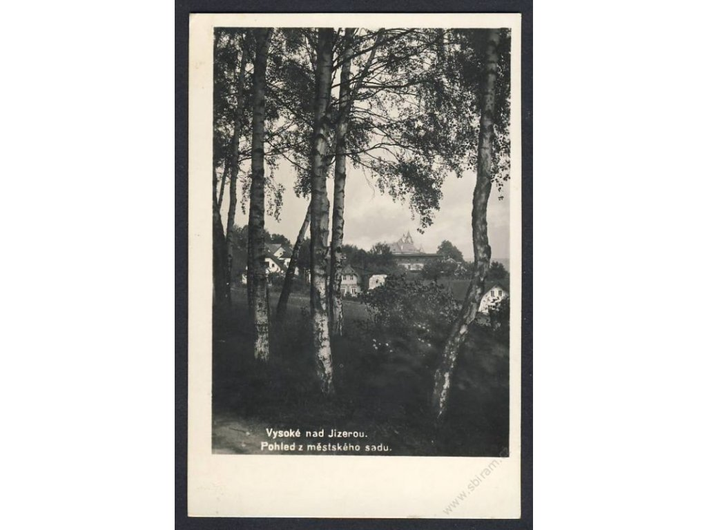 58 - Semilsko, Vysoké nad Jizerou, pohled z městského sadu, nakl. Mařatka, cca 1941