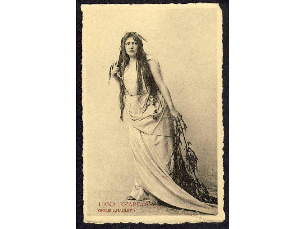 Hana Kvapilová jako Ofelie z Hamleta, ca 1918