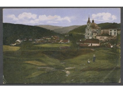 03-Blansko, Křtiny, Pohled na kostel, cca 1915