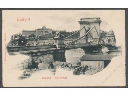 Hungary, Budapest, Kettenbrücke Lánczhid, ca 1900