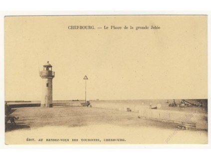 France, Cherbourg, Grande Jetée lighthouse,ca 1906