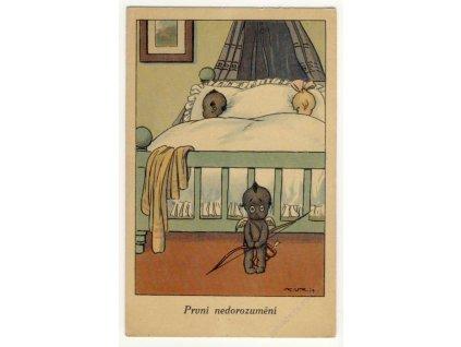 """""""První nedorozumění"""", černý amorek, ca 1930"""