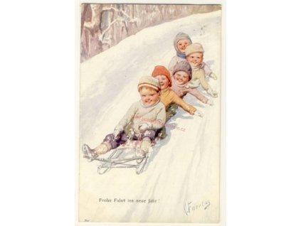 Novoroční, děti na sáňkách, cca 1908