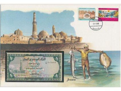 Jemen, pamětní bankovková obálka,hledané, ojedinělý výskyt