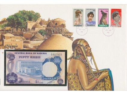 Nigérie, pamětní bankovková obálka,hledané, ojedinělý výskyt