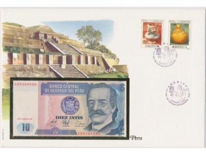 Peru, pamětní bankovková obálka,hledané, ojedinělý výskyt