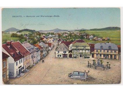 32 - Liberecko, Osečná, Markplatz und Wartenbergerstrasse, cca 1920