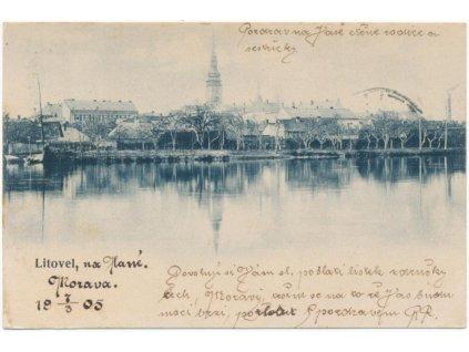 41 - Olomoucko, Litovel, pohled na město od řeky Moravy, cca 1905