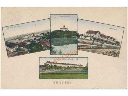 01 - Benešov, 4 - záběr dominant (Konopiště, kasárna, nádraží..),1915