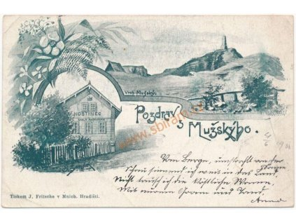 36 - Mladoboleslavsko, Vrch Mužský, 2 - záběrová koláž(hostinec..)1900