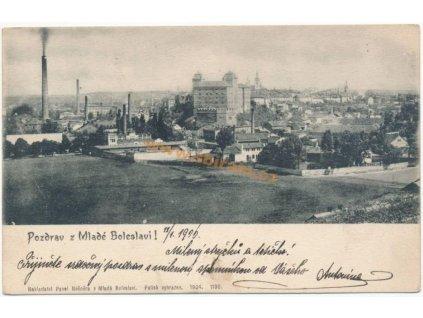 36 - Mladá Boleslav, celkový pohled na město, Nakl. P. Nešnera,ca 1900