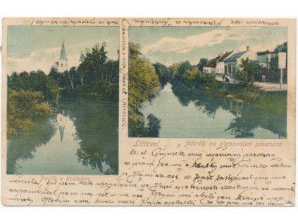 41 - Olomoucko, Litovel, 2 - záběr, Partie s kostelem a Nábřeží, 1905