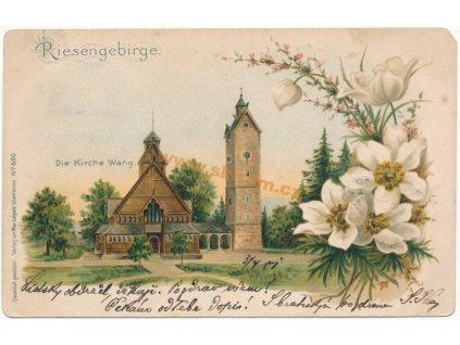 PL – Krkonoše, kostel Wang, ca 1900