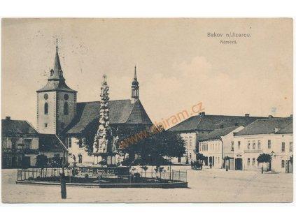 36 - Mladoboleslavsko, Bakov nad Jizerou, Náměstí, cca 1908