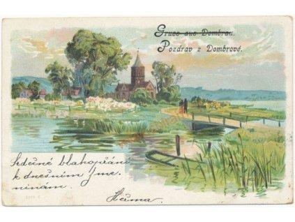 26 - Karvinsko, Doubrava - Dombrová, partie u rybníka, cca 1900
