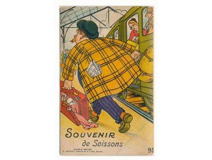 Soissons, satiristický pozdrav z nádraží, cca 1940