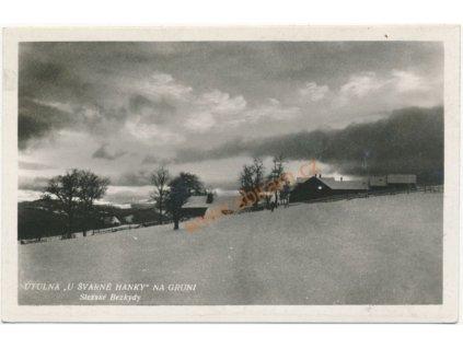 """16 - Frýdeckomístecko, Beskydy, útulna """"U Švarné Hanky"""" na Gruni, 1930"""