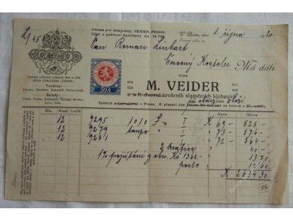Praha, hlavičkový účet kloboučnictví Veider, 1920