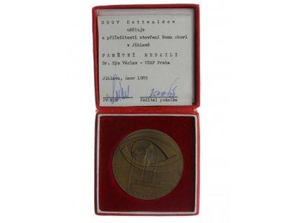 ČSSR, AE medaile Obuv Gottwaldov ,1985, 60 mm, etue, stav 1