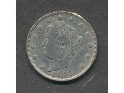 USA, mince 5 C, 1892, škráblá, 1/1