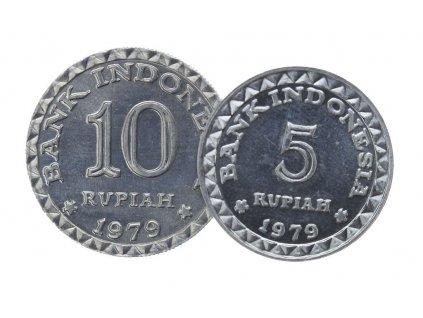 Indonésie, 2 ks mincé 5+10 R, 1979, stav 0/0