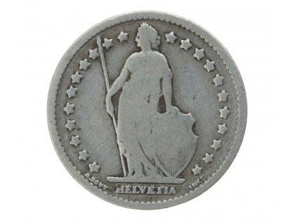 Švýcarsko, mince 1 Schf.,  1887 , stav 2/2