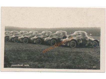 40 - Nymbursko, Milovice, pancéřová auta, tisk Tonografie, cca 1935