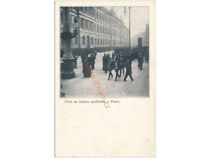 49 - Praha, Útok na českou spořitelnu v Praze, četnictvo, cca 1900