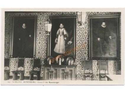 Českokrumlovsko, Rožmberk, interiér hradu, foto Wolf, cca 1930