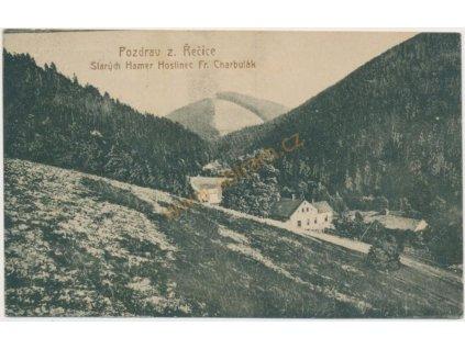 16 - Frýdeckomístecko, Staré Hamry, Hostinec Fr. Charbulák, cca 1930