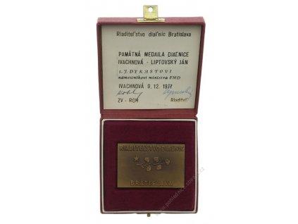 ČSSR, AE medaile Diaľnice Ivanchová - Liptovký Ján, 1977, dekret