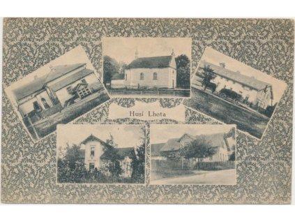 36 - Mladoboleslavsko, Husí Lhota, 5 - ti záběr dominant obce,cca 1920