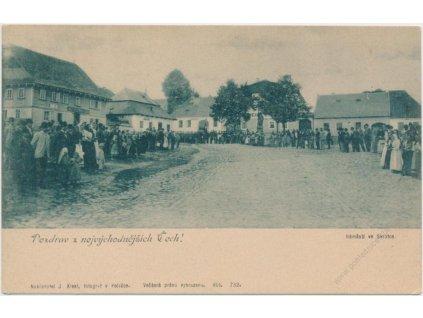 75 - Žďársko, Svratka, obyvatelé na náměstí, Nakl. J. Klesl, cca 1901...