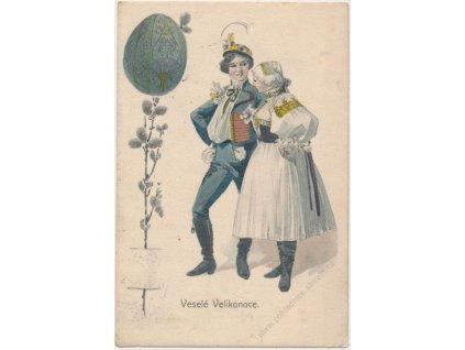 Veselé Velikonoce, kraslice, muž a žena v kroji, cca 1906