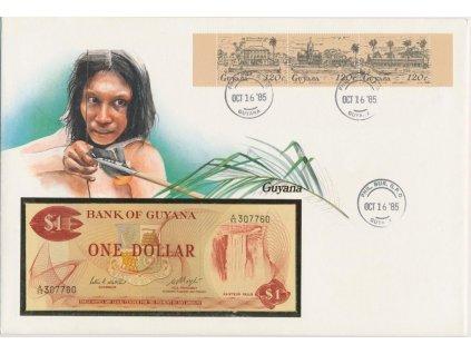 Guyana, pamětní bankovková obálka,hledané, ojedinělý výskyt